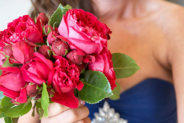 Ruby Red David Austin Rose Bridesmaid Bouquet