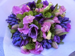 Purple colour palette include sweet pea, tulip and hyacinth