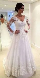 Bride-to-be in gown