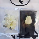 White rose buttonhole and matching white rose and orchid wrist corsage