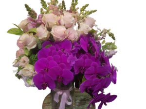A collection of premium flowers in a glass cylinder vase including roses, orchids tulips and a selection of the seasonal flowers